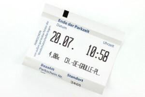 Parkschein, welcher beim Parken ausgestellt wurde und durch einen Eigenbeleg ersetzt werden kann.