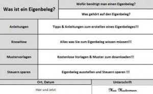 Tabelle mit der Aufschrift: Was ist ein Eigenbeleg?
